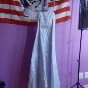 Dresses & Skirts - Blue Prom Dress With Rhinestone Straps